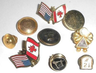 Group 9 Vintage Tie Tac Pins Gold Filled Fraternal Us Canada Patriotic Masonic
