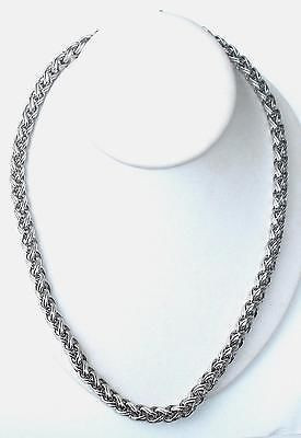 Long Heavy Chunky Vintage Monet 24 Inch Silver Overlay Necklace Excellent