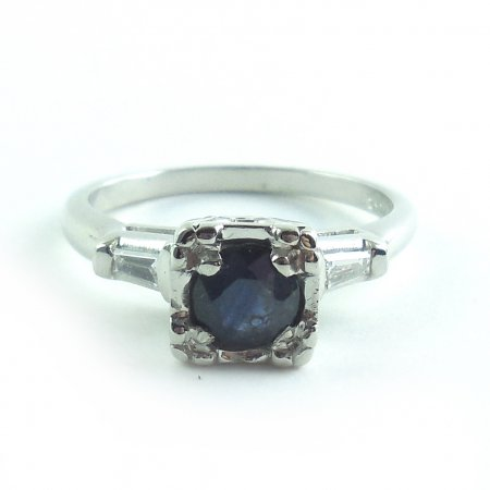Art Deco Platinum 1.2 Cts Sapphire Diamond Baguette Engagement Ring Rosette Bezel 6.5