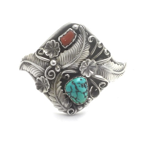Native American Julia Etsitty Navajo Sterling Silver Turquoise Coral Big Cuff Bracelet Medium