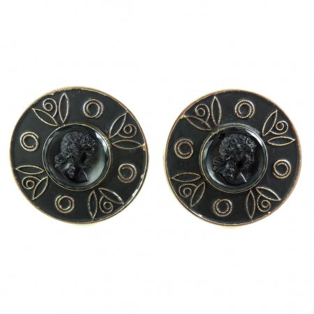 Big Vintage Intaglio Seal Mens Cufflinks Lady Portrait Cameos