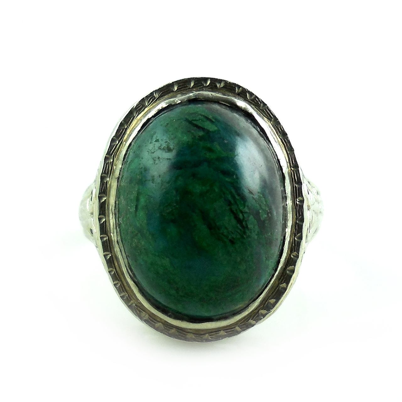 Antique 1927 Early Art Deco 14k White Gold Fancy Filigree Green Turquoise Stone Ring 6.5