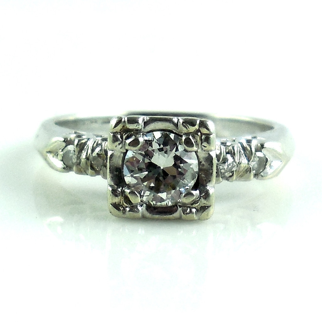 Vintage Antique Art Deco 14k White Gold .5 Ct Diamond Ring Size 6.5