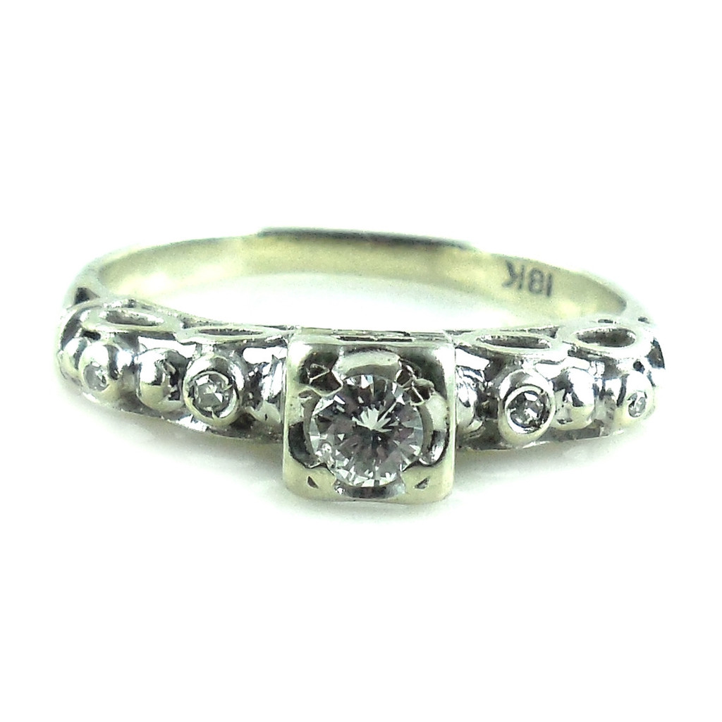 Fancy Antique Art Deco 18k White Gold .20 Ct Diamond Ring Size 6.75