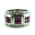 Heavy 18K White Gold 1.32 Carats Ruby Diamond Cigar Band Ring Mens Womens 6.75