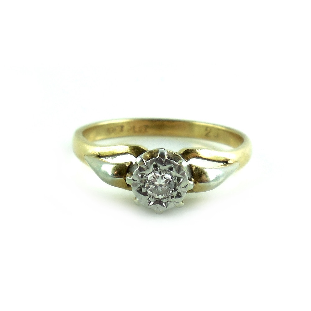 Vintage Art Deco Platinum And 18k Gold .25 Ct Clean Diamond Ring Size 7.25