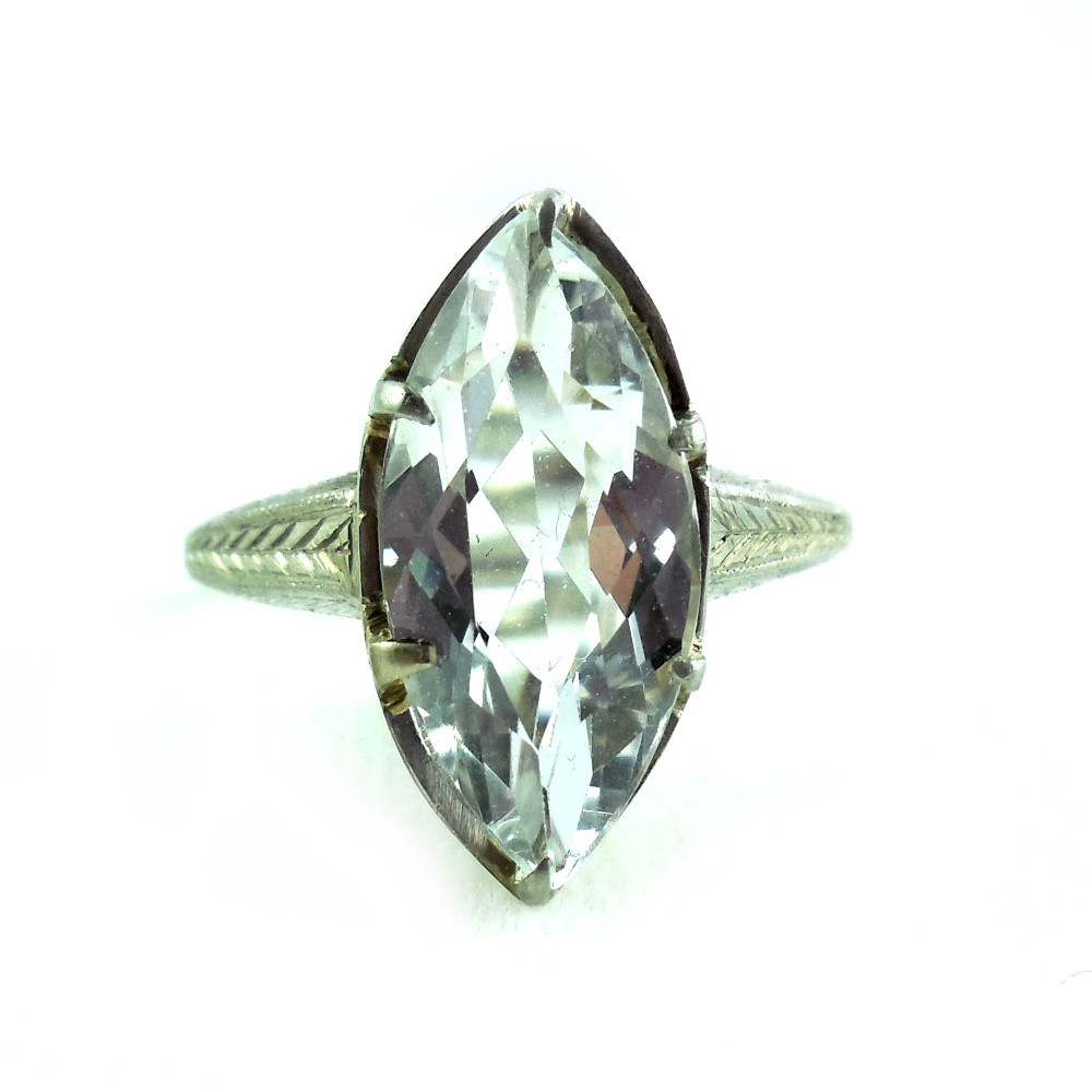 Antique Edwardian Art Deco Fancy 18k White Gold 3 Ct Aquamarine Ring Size 5.5