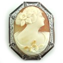 Antique Art Deco 14k White Gold And Shell Cameo Pendant Pin Filigree