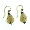 Antique Victorian 14k Gold French Hook Woven Hair Earrings