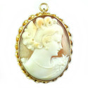 Antique Art Deco 10k Gold 7.5gr Carved Shell Cameo Pendant Pin Swivel Bale Thick And Well Made