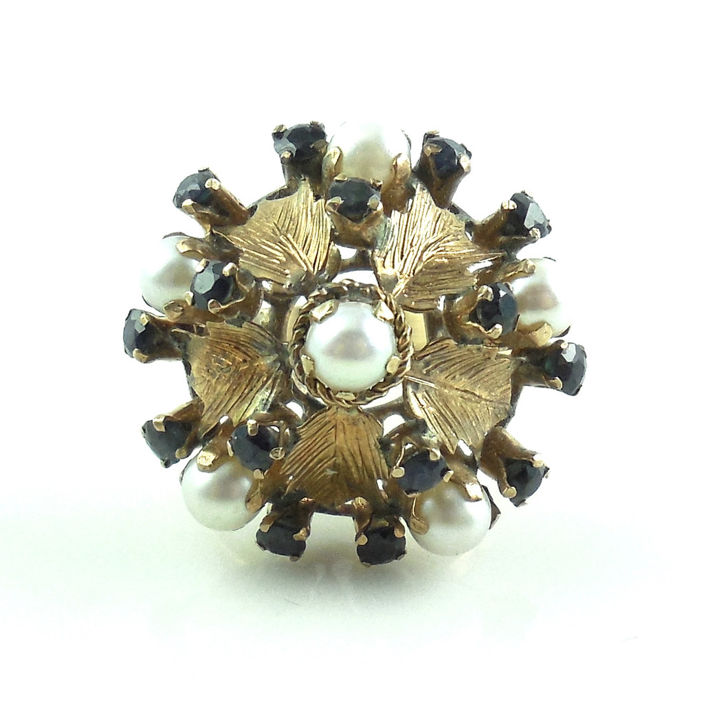 Large Vintage 14k Gold Sapphire And Pearl Jeweled Sphere Ring 6.5