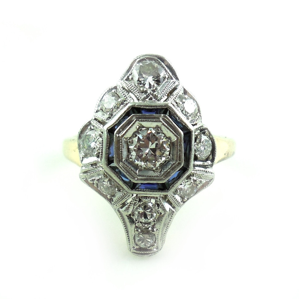 Antique 1920s Early Art Deco Platinum And 14k Gold .93 Ct Diamond And Sapphire Ring Size 6 1/2