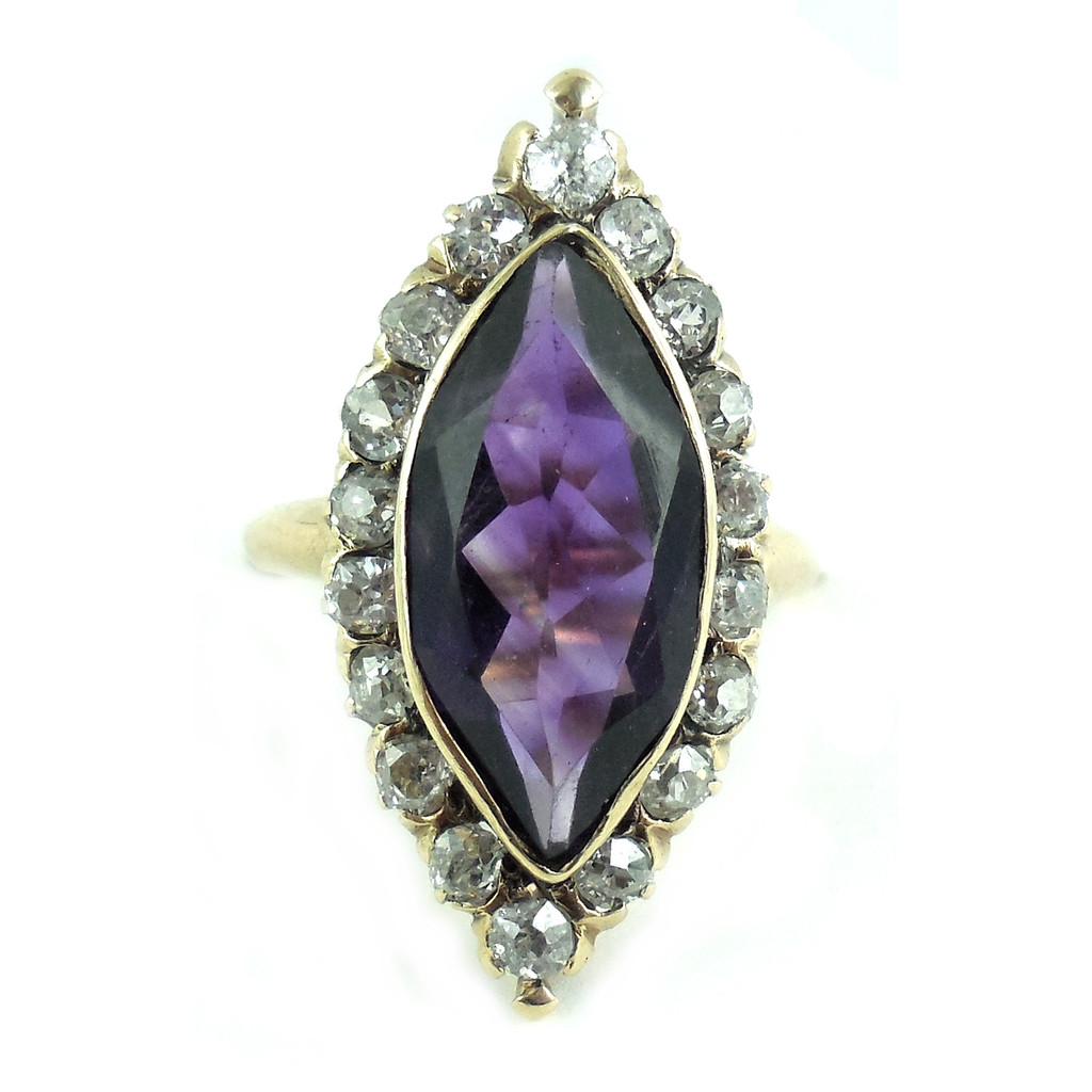 Antique 14K Gold Amethyst Rose Diamond Navette Ring Size 4.5