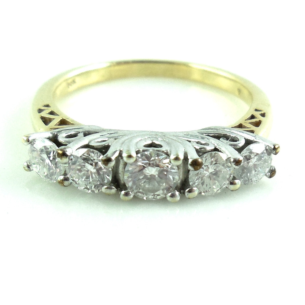 Vintage 14k Gold .75 Ct Fancy Diamond Ring Band Size 7.25
