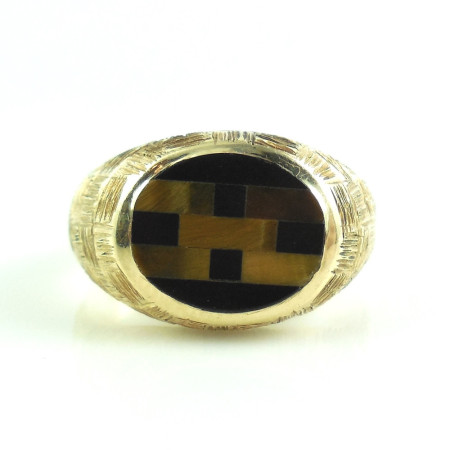 Vintage 14k Yellow Gold Hand Made Tiger Eye Black Onyx Mosaic Mens Ring Size 10