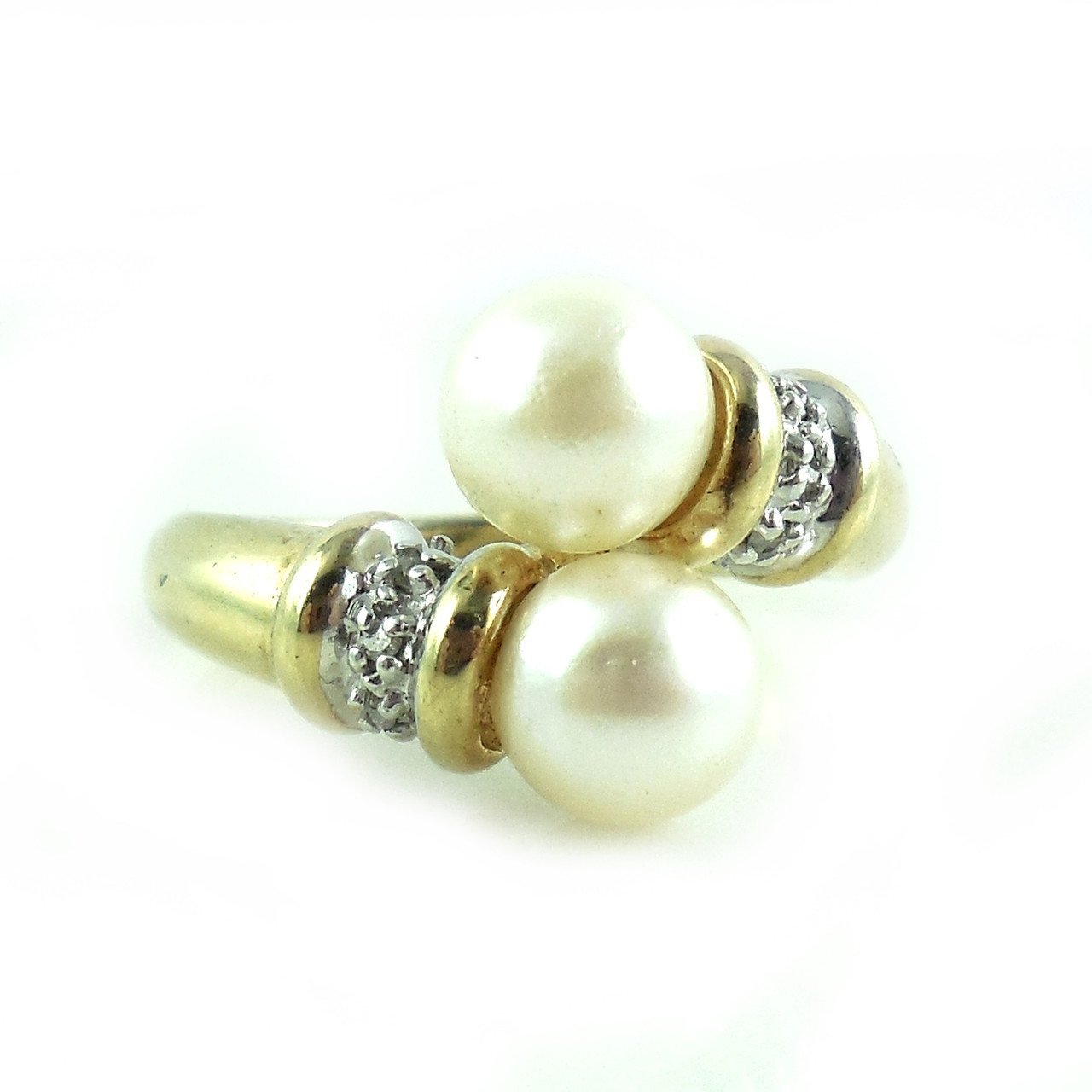 10k Yellow Gold 4.3 Gr Pearl Diamond Collars Ring 7