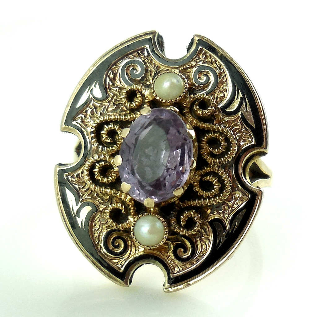 Victorian 10k Yellow Gold Taille D' Epergne Enamel Amethyst Pearls Ring Size 5.2