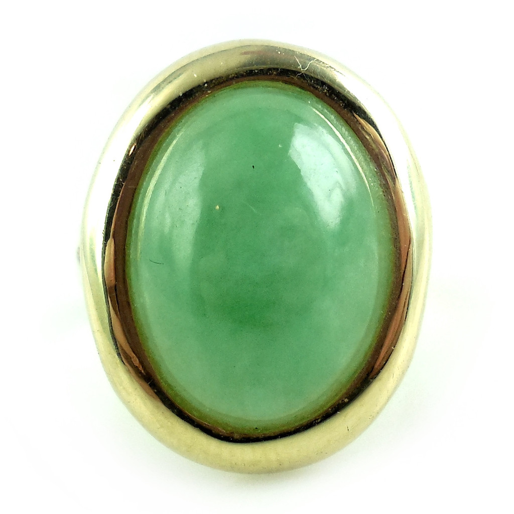 Vintage 14k Yellow Gold Jade Jadeite Nephrite 18m Cabachon Ring Size 6 3/4 6.75