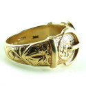 Heavy 15.3gr British English Birmingham Hallmked 9K Gold Mens Buckle Ring 12.25