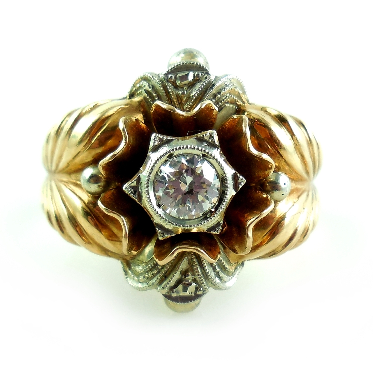 Antique Hallmarked 18k Gold .7 Carat Diamond Ring Size 8.5