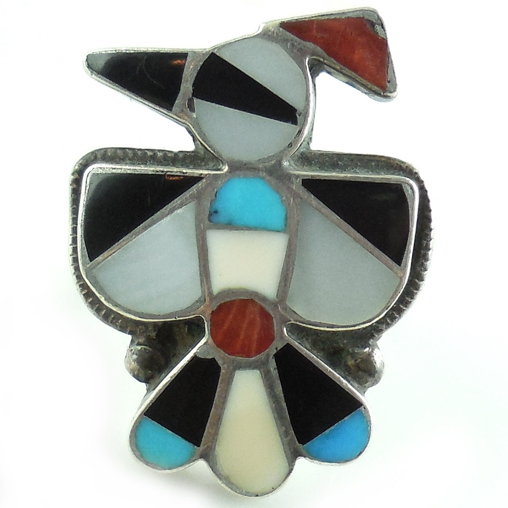 Large Vtg Native American Zuni Sterling Mosaic Thunderbird Ring Size 6.25