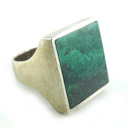 Vintage Chunky Heavy Sterling Silver Malachite Or Eilat Turquoise Mens Ring 6.5