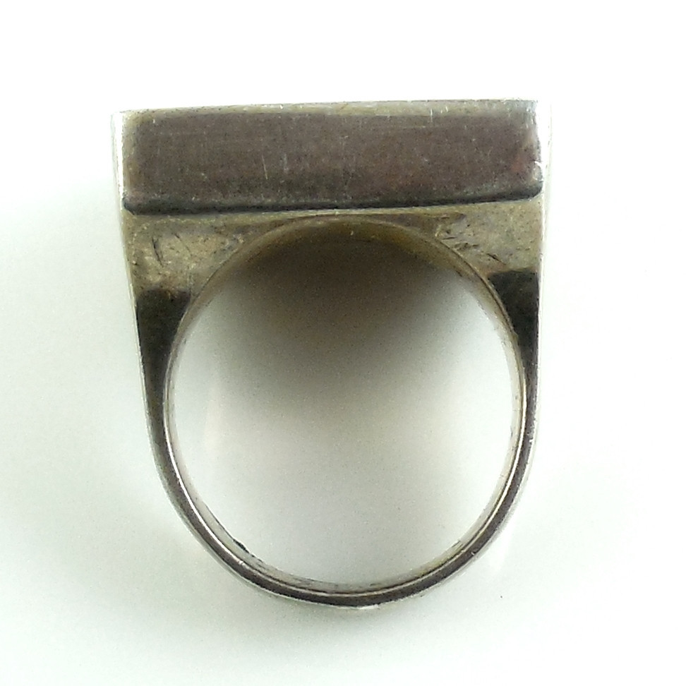 vintage chunky heavy sterling silver malachite mens ring 6 5