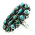 Big Vintage Zuni Native American Sterling Silver Petit Point Turquoise Ring 7.75