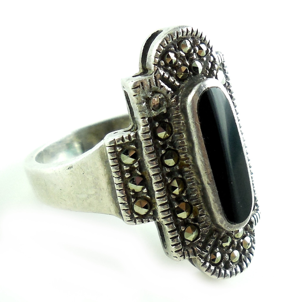 Vintage Sterling Silver Long Onyx Cut Steel Marcasites Ring Size 7