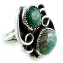 Vintage Hand Wrought Sterling Silver 2 Turquoise Ring 7.25 Mens Women