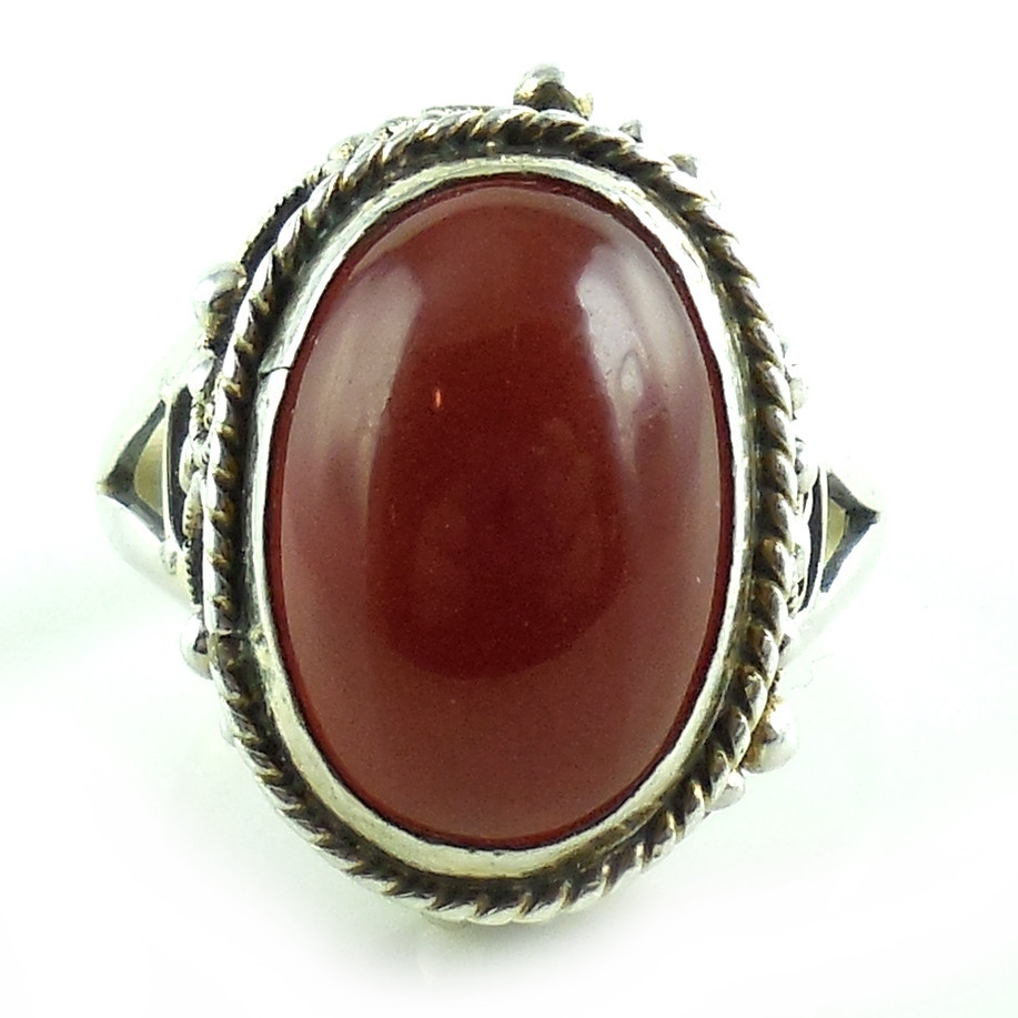 Vintage Hand Made Filigree Carnelian And Sterling Silver Ring Size 7