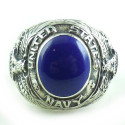 Vintage Sterling Silver Chunky Lapis Stone Navy Ring 8.5