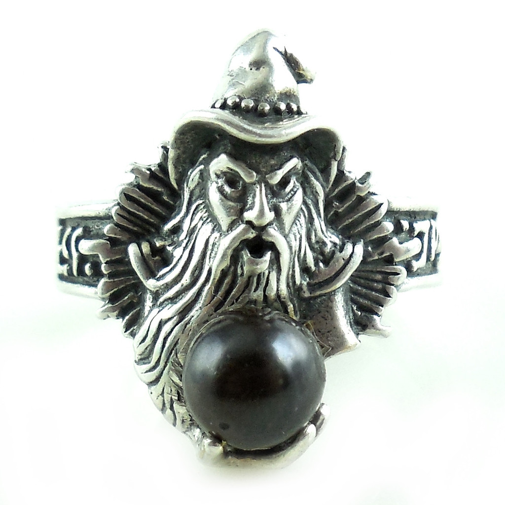 Sterling Silver Wizard With Onyx Ball Ring Very Detailed Magic Mystic 7 3/4