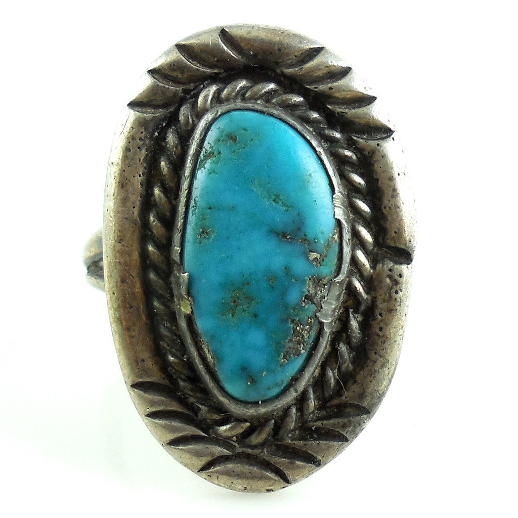 Hand Made Vintage Native American Sterling Silver Turquoise Ring Size 7