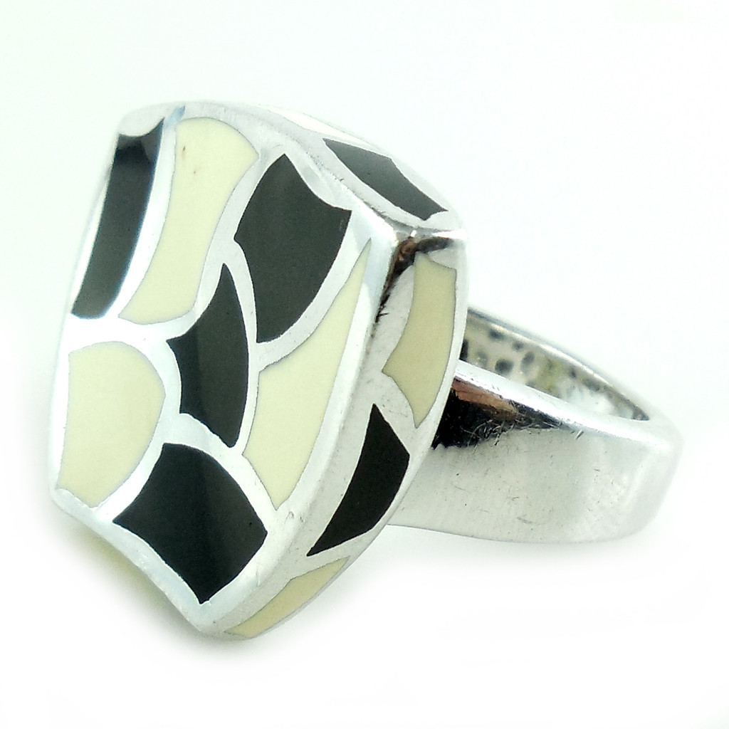 Wide Heavy Italy Sterling Silver Enameled Abstract Modern Ring Size 7