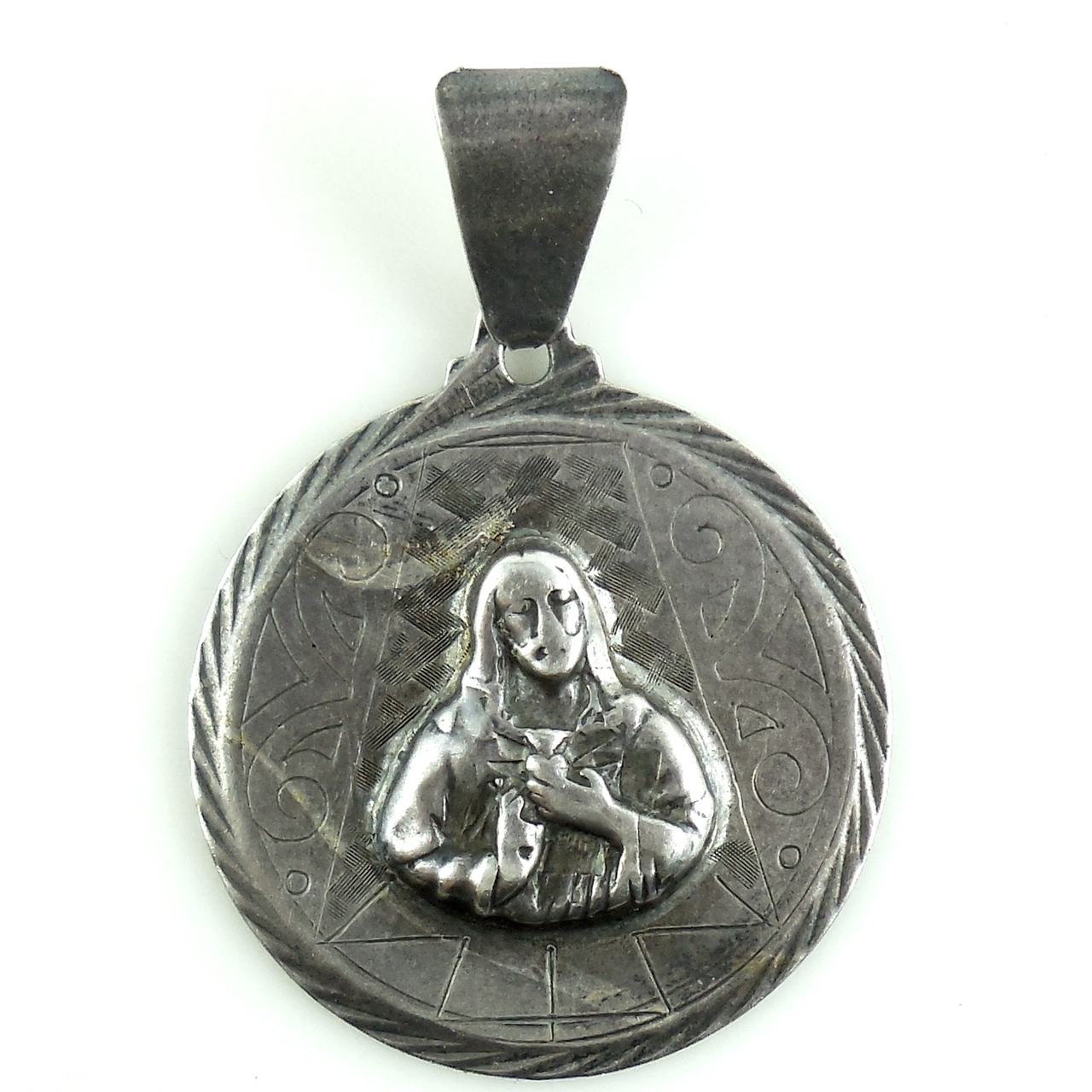 Vintage Art Deco Sterling Silver Christian Sacred Heart Of Jesus Charm Fob