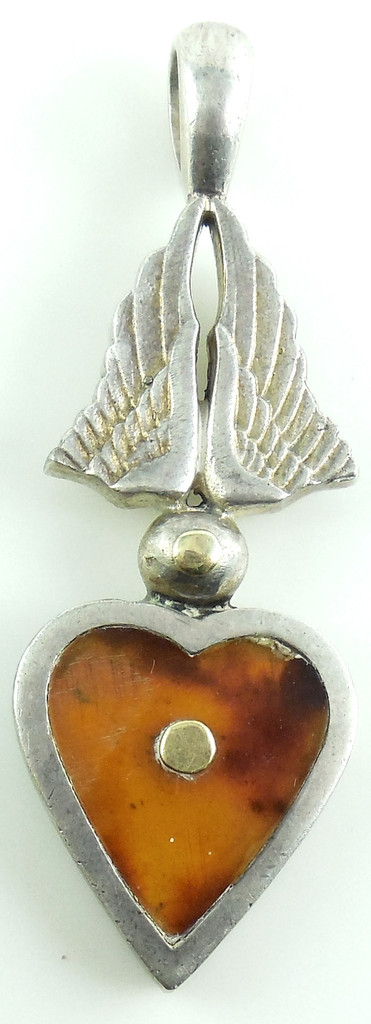 "Heavy Laurence De Vries 14k Gold   And Sterling Silver 41.6g 3"" Long Pendant"