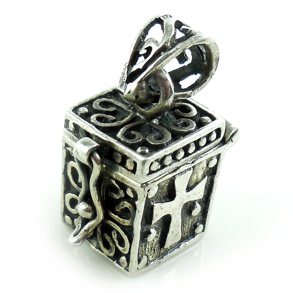 Sterling Silver Fancy Open Close Box With Cross Charm
