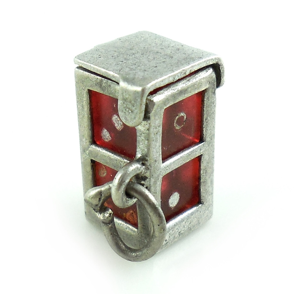 Vintage 1940s Art Deco Sterling Silver Removable Dice Case Charm