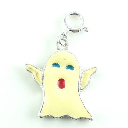 925 Sterling Silver Halloween White Enameled Ghost Charm