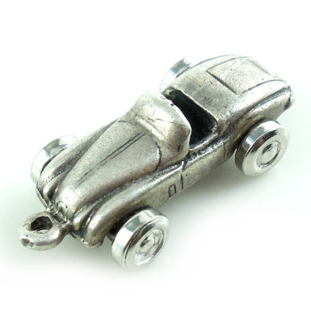1940s Art Deco Movable Wheels Sterling Silver Roadster Charm