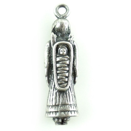 Old Vintage Native American Sterling Silver Squaw And Papoose Charm Or Fob
