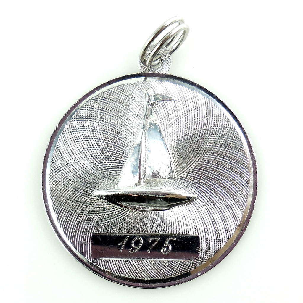 Vintage 1975 Sterling Silver Boat Charm Pendant Fob Exc Cond No Monogram