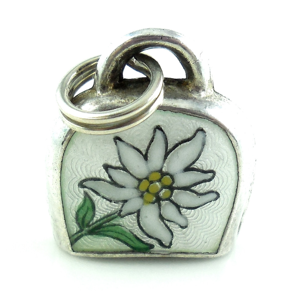 Art Deco Sterling Silver Vintage Enameled Bell Charm Fob
