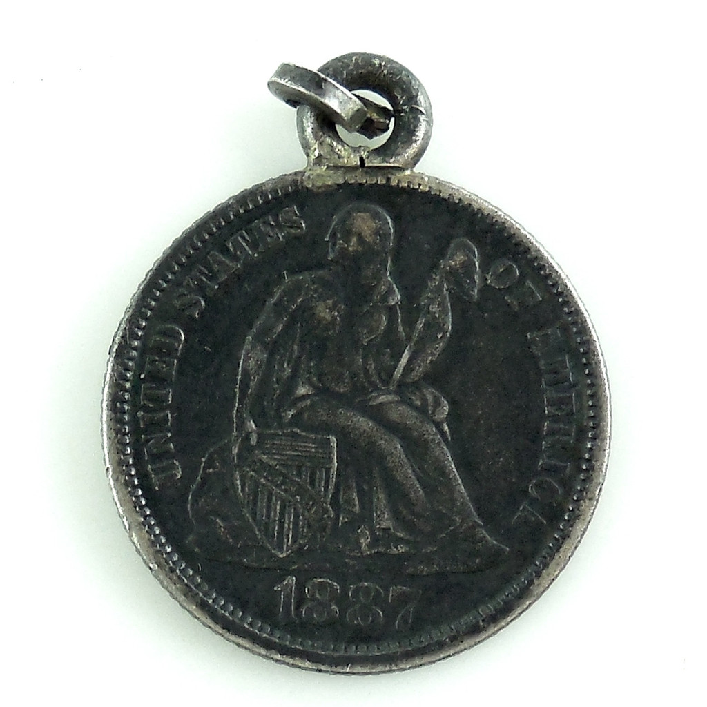 Antique Victorian 900 Coin Silver 1887 Seated Liberty Dime Love Token For Pendant Fob Charm
