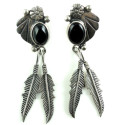 "Southwestern Mexican Sterling Silver And Onyx 3"" Shoulder Duster Dangle Earrings"