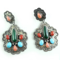 Stunning W Will Denetdale Jeweled Navajo Sterling Silver Dangle Earrings