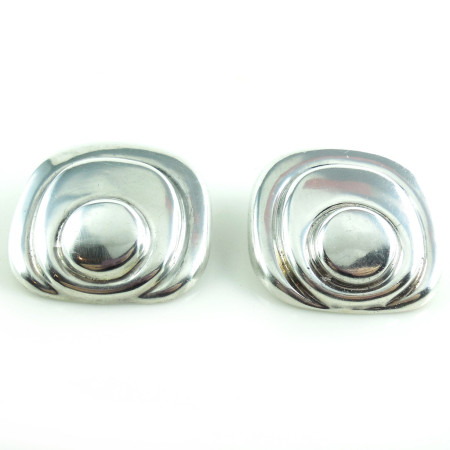 Big Chunky Vintage Taxco Mexican Sterling Silver Oblong Clip Earrings