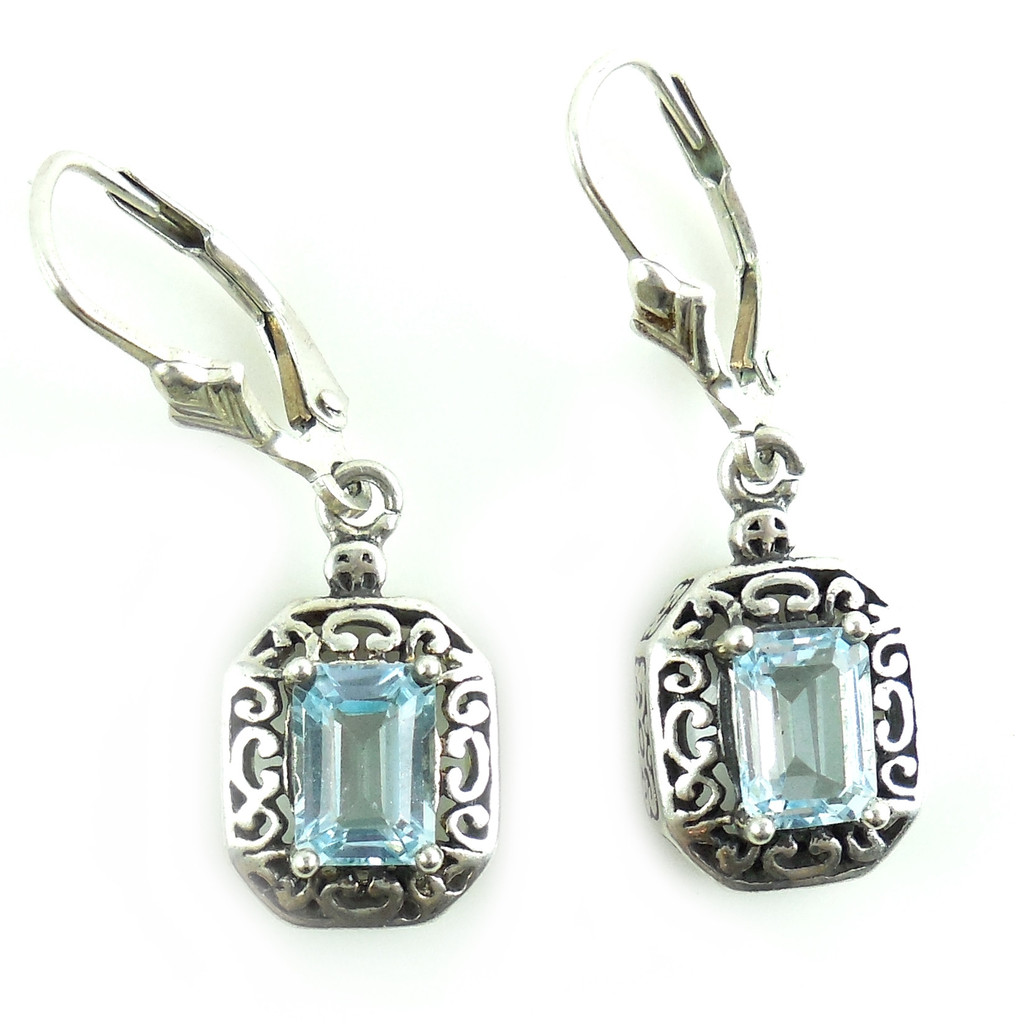 fancy bali sterling silver blue leverback earrings