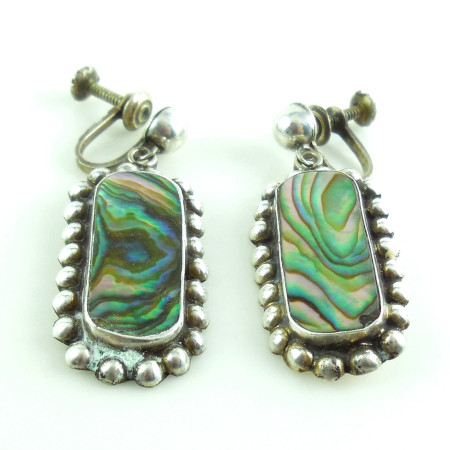 Vintage Mexican Sterling Silver And Abalone Screw Earrings Old Marking